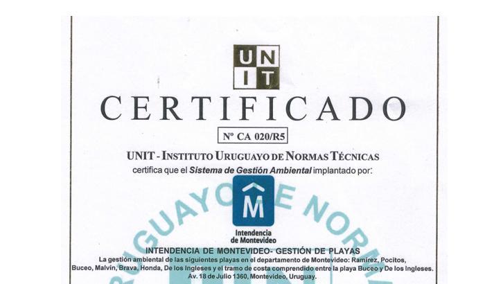 Certificado de calidad de playas